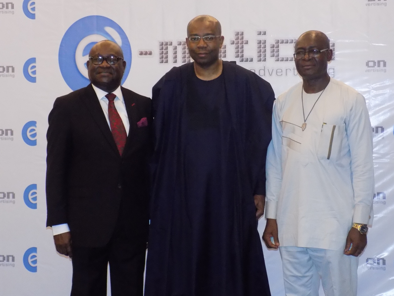 APCON CHAIRMAN MR UDEME UFORT, PRESIDENT NSE MR AIG-IMOUKHEDE & CEO E-MOTION ADVERTISING MR PAUL ONYIA